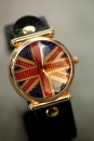 UK National Uhr mit Lederarmband in black Design